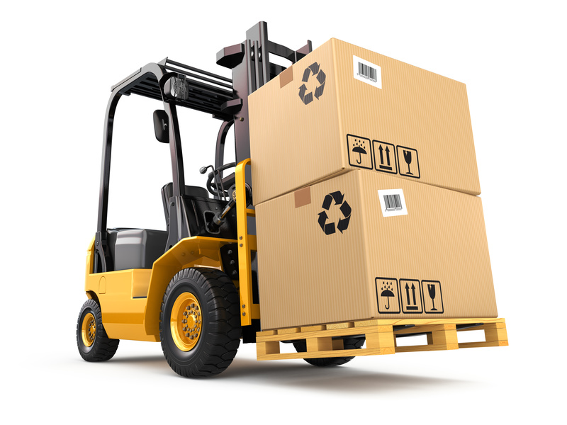 Forklift truck with boxes on pallet. Cargo.
